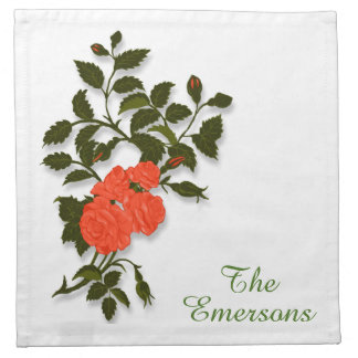 Orange Roses and Surname Monogram Napkin