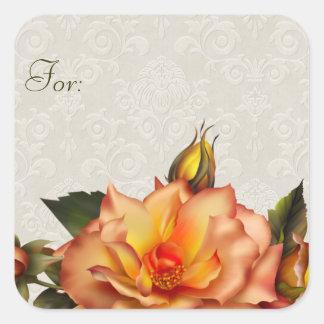 Orange Roses Gift Tag Square Sticker