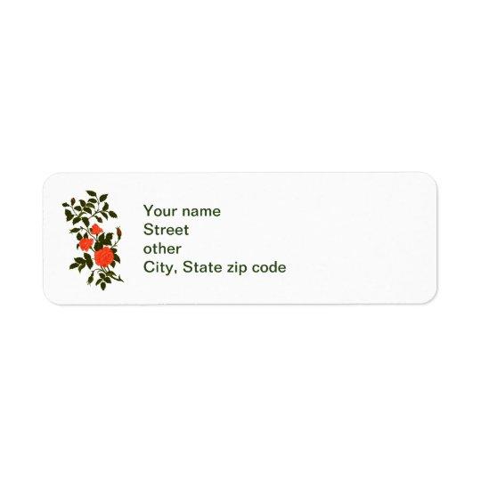 Orange Roses Vintage Lineart Return Address Label