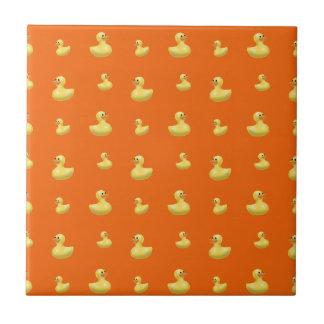 Orange rubber duck pattern small square tile
