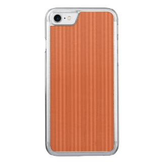 Orange Rust Vertical Stripes Pattern Carved iPhone 7 Case