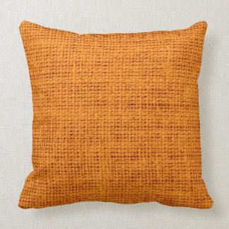 Orange Rustic Burlap Linen Cushion