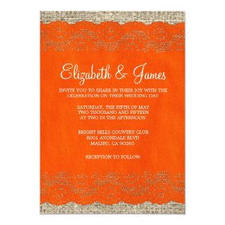 Orange Rustic Lace Wedding Invitations