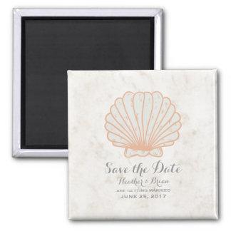 Orange Rustic Seashell Save the Date Magnet