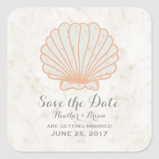 Orange Rustic Seashell Save the Date Square Sticker