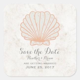 Orange Rustic Seashell Save the Date Square Sticker
