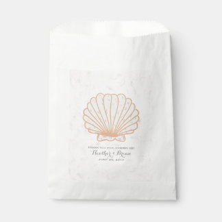 Orange Rustic Seashell Wedding Favour Bags