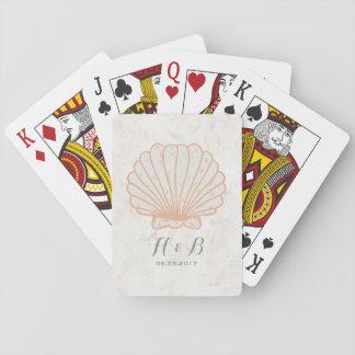 Orange Rustic Seashell Wedding Playing Cards