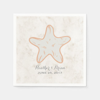 Orange Rustic Starfish Wedding Disposable Napkins