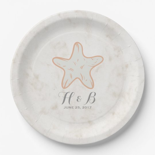 Orange Rustic Starfish Wedding Paper Plate