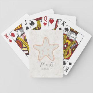 Orange Rustic Starfish Wedding Playing Cards