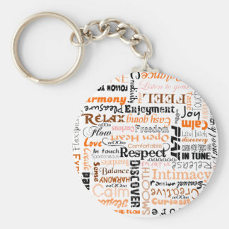 Orange Sacral Chakra Positive Affirmations Basic Round Button Key Ring