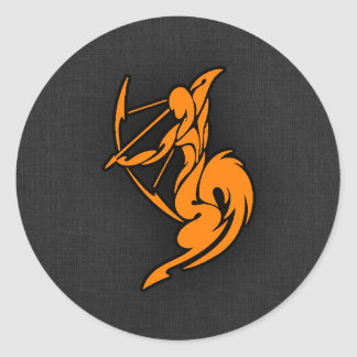 Orange Sagittarius Classic Round Sticker