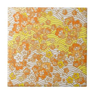 Orange Sakura Small Square Tile