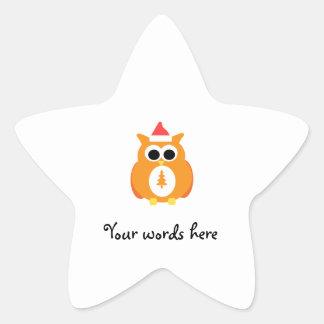 Orange santa owl star sticker