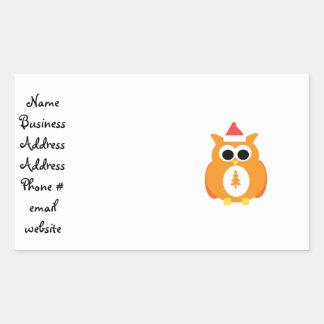 Orange santa owl rectangle stickers