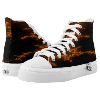 Orange Scar Hi Top Printed Shoes