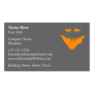 Orange Scary Face. Monster. Pack Of Standard Business Cards