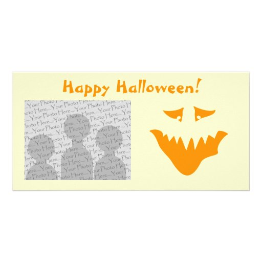 Orange Scary Face. Monster. Personalized Photo Card