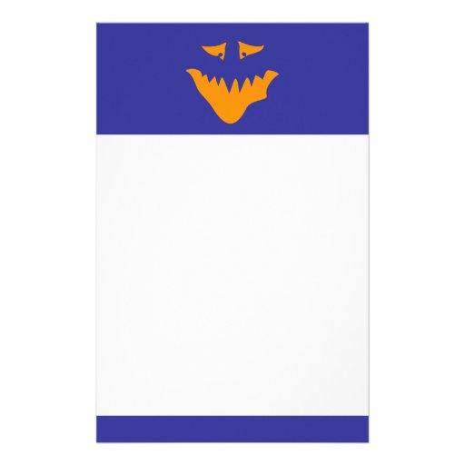 Orange Scary Face. Monster. Personalized Stationery
