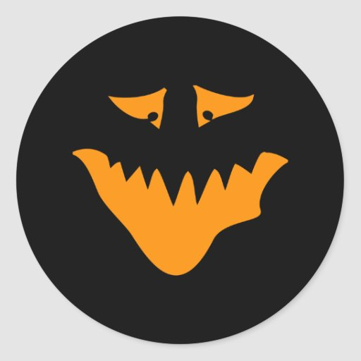 Orange Scary Face. Monster. Round Stickers