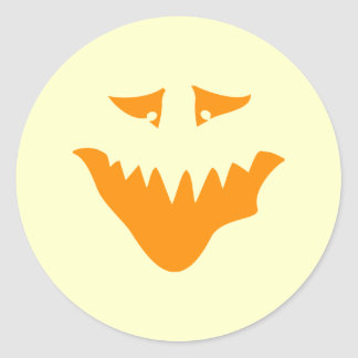 Orange Scary Face. Monster. Classic Round Sticker