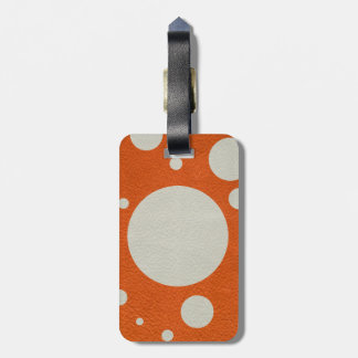 Orange Scattered Spots on Stone Leather print Luggage Tag