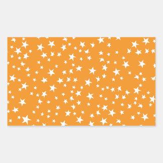 Orange Scattered Stars Rectangular Sticker