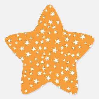 Orange Scattered Stars Star Sticker