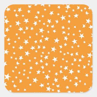 Orange Scattered Stars Square Stickers