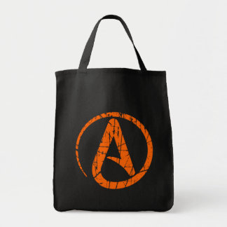 Orange Scratched and Worn Atheist Atheism Symbol Canvas Bag