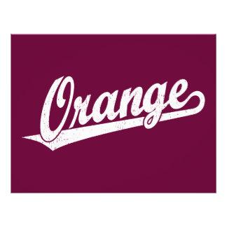 Orange script logo in white distressed 21.5 cm x 28 cm flyer
