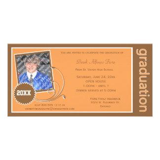 Orange Scroll Graduation Photo Invitation Personalised Photo Card