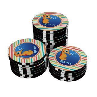 Orange Seahorse; Bright Rainbow Stripes Poker Chips Set