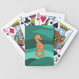 Orange seahorse in the swirling green sea bicycle playing cards