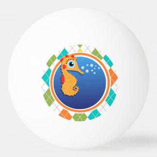 Orange Seahorse on Colorful Argyle Pattern Ping Pong Ball