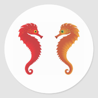orange seahorses classic round sticker