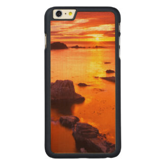 Orange seascape, sunset, California Carved® Maple iPhone 6 Plus Case