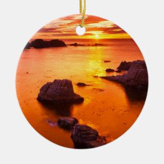 Orange seascape, sunset, California Christmas Ornament