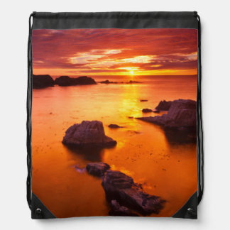 Orange seascape, sunset, California Drawstring Bag