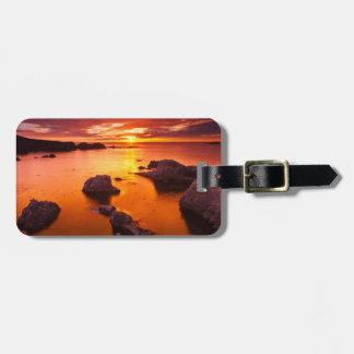 Orange seascape, sunset, California Luggage Tag