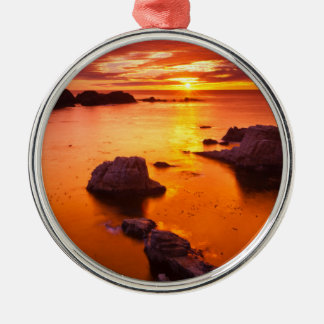 Orange seascape, sunset, California Silver-Colored Round Decoration