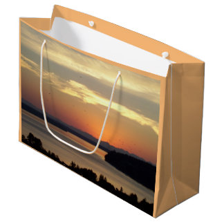 Orange Seascape Sunset Photo Large Gift Bag