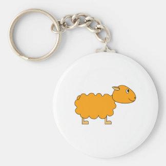 Orange Sheep Basic Round Button Key Ring