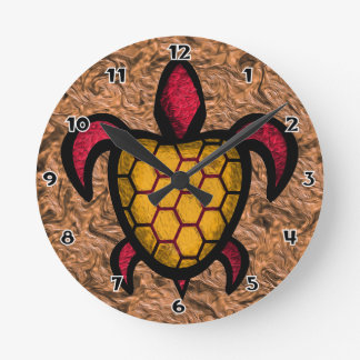 Orange Shell Turtle Round Wall Clock