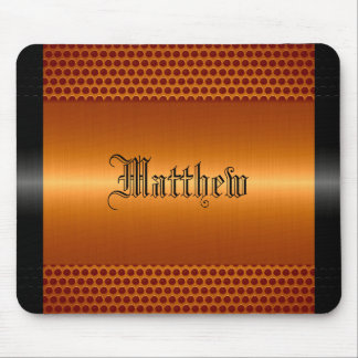Orange Shiny Stainless Steel Metal Look Mouse Mat