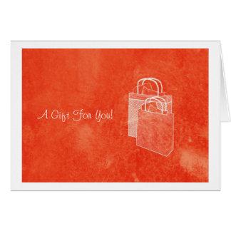 Orange Shopping Spree Money Enclosed Note Card