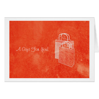 Orange Shopping Spree Money Enclosed Note Card