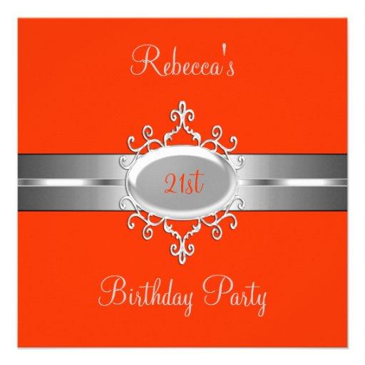 Orange Silver Jewel 21st Elegant Birthday Party Custom Announcement