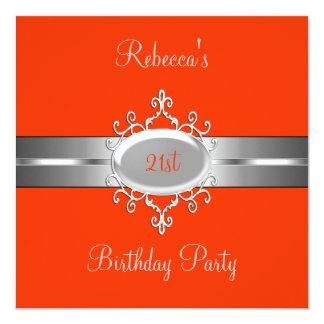 Orange Silver Jewel 21st Elegant Birthday Party 13 Cm X 13 Cm Square Invitation Card